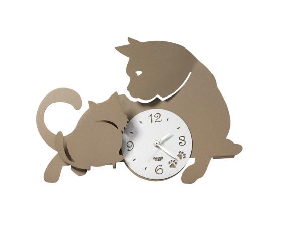 Aem3494bb    orologio moderno mamma gatta.arti  e.mestieri beige metoo design