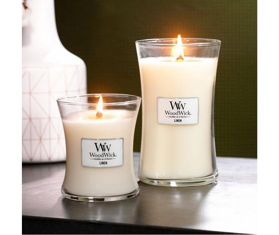 Wd76135e    candele clessidra linen woodwick