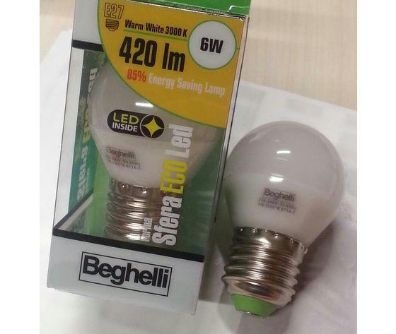 LAMPADINA SFERA LED BEGHELLI 6W E27 420 LUMEN 3000K cod.56076
