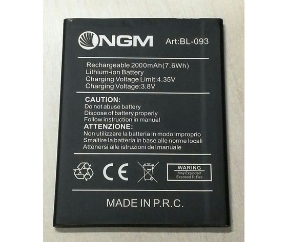 BATTERIA ORIGINALE NGM BL-093 in Bulk per YOU COLOR E505/E505plus 3,8V 2000mAh