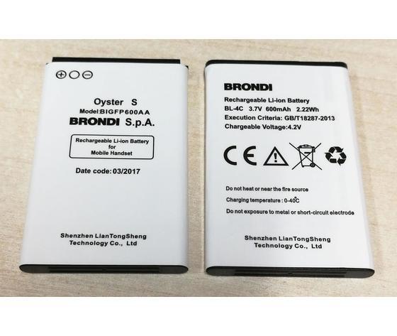 BATTERIA BRONDI OYSTER S in Bulk ORIGINALE 3,7V 600mAh BL-4C