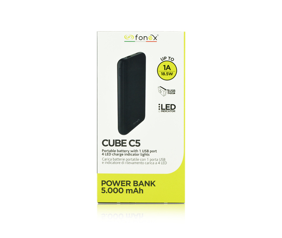 Cube C5 Power Bank Batteria Esterna da 5000 mAh Colore Nero