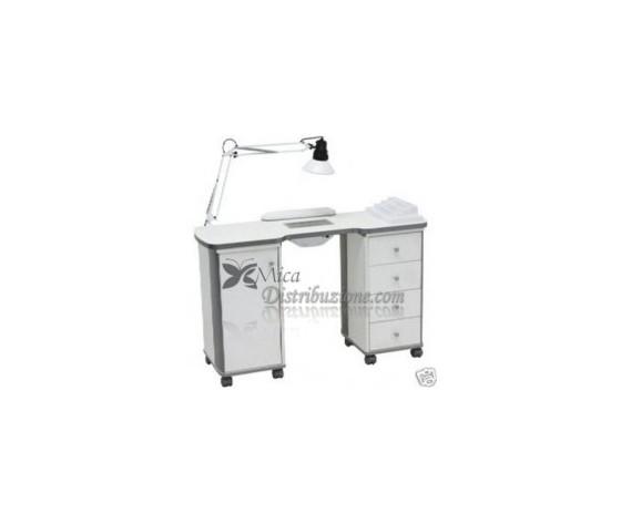 Tavolo per Manicure Bianco con Rotelle Nat.Table - GV Beauty