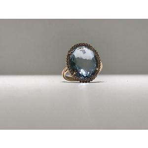 Anello oro rosa 18Kt  con Topazio azzurro  zirconi