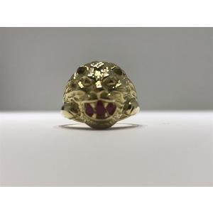 Anello testa di leone in oro 18Kt con brillanti e rubino sintetico