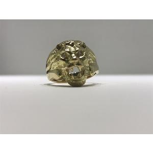 Anello testa di leone in oro 18Kt e brillanti