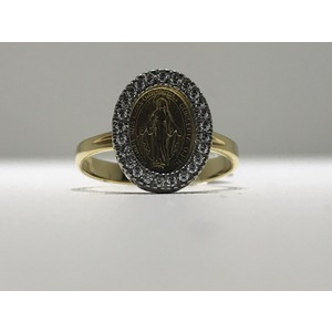 Anello oro bianco/giallo 18Kt  con Medaglia Madonna Miracolosa