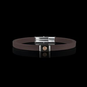 Bracciale in silicone Breil con inserti in acciaio e dettaglio in oro rosa 9 Kt