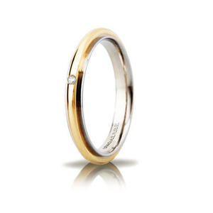 Fede Matrimoniale Unoaerre  Andromeda Slim Bicolore con diamante
