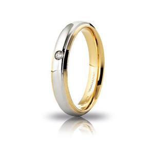Fede Matrimoniale Unoaerre  Cassiopea Bicolore con diamante