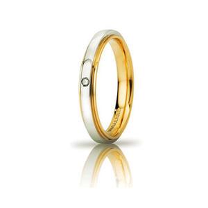 Fede Matrimoniale Unoaerre  Cassiopea Bicolore slim con diamante