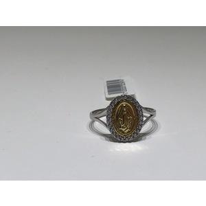 Anello oro bianco e giallo 18Kt  con Medaglia Madonna Miracolosa