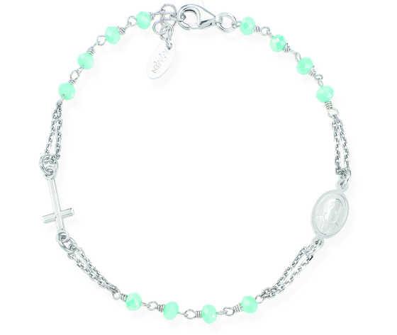 Bracciale Rosario Argento e Cristalli Verde Tiffany Amen