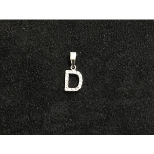 Pendente Lettera D in Oro Bianco con Zirconi Naturali