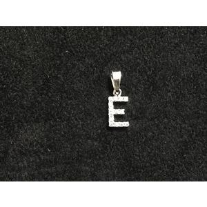 Pendente Lettera E in Oro Bianco con Zirconi Naturali