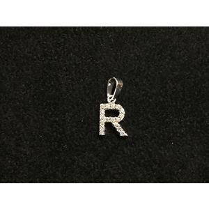 Pendente Lettera R in Oro Bianco con Zirconi Naturali