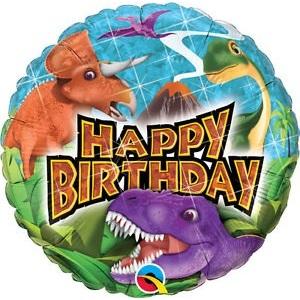 Pallone mylar happy birthday dinosauri