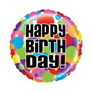 Pallone mylar happy birthday pois