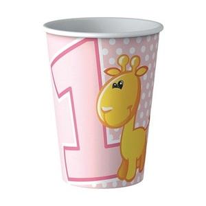 Bicchieri 1° compleanno bambina rosa