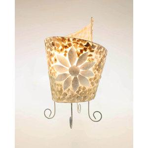 Lampada con sassolini di madreperla e fiori attocigliata aperta cm 30