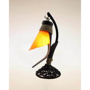 Lampada in cocco con fiore capovolto cm 37  arancione