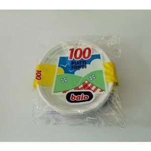 Piatti fondi plastica bianchi - 100 pz