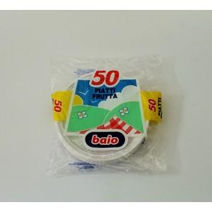 Piatti dessert plastica bianchi - 50 pz