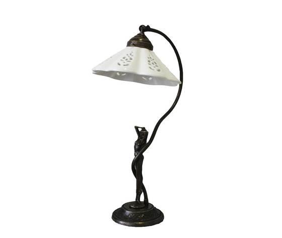 LAMPADA DA TAVOLO IN OTTONE CON CUPOLINA IN CERAMICA TRAFORATA H45xD22 cm