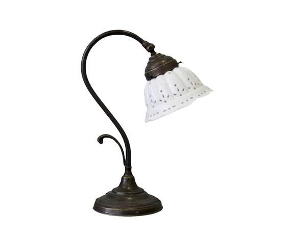 LAMPADA DA TAVOLO IN OTTONE CON CUPOLINA IN CERAMICA H32xD14 cm