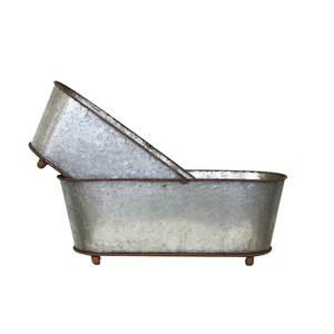 Coppia due vaschette portapiante ovali in latta COLLEZIONE FRANCE - 16x45x16 cm