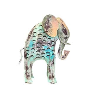 Elefante portacandela in ferro animale da giardino decorativo COLLEZIONE ANIMAL -  41x32x15 cm