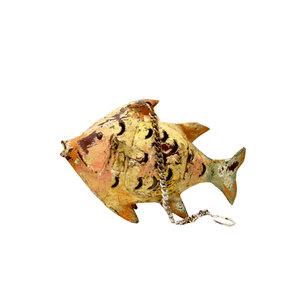 Pesce portacandele in ferro animale da giardino decorativo COLLEZIONE ANIMAL -   33x12x58 cm