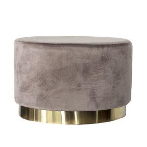 Pouf ovale color cipria per soggiorno in elegante velluto LINEA SOFT - 35x55x35 cm