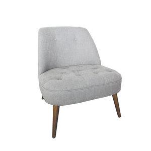 Poltroncina imbottita in elegante velluto color grigio per soggiorno LINEA SOFT -  h75x65x65