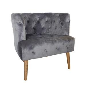 Poltroncina pozzetto imbottita in elegante velluto e legno color grigio per soggiorno LINEA SOFT -  h80x75x75