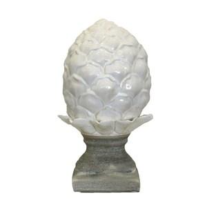 Pigna bianca in ceramica con base in ardesia elemento decorativo da interno ed esterno LINEA DESERT - 35x20 cm