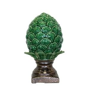 Pigna verde in ceramica con base lucida elemento decorativo da interno ed esterno LINEA DESERT - 35x20 cm