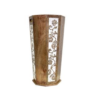Portaombrelli in legno e ottone decorato stile orientale arredo INDIAN -  cm 47x24