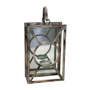 Lanterna portacandela in ferro con specchio da appoggio e da appendere ideale per interno ed esterno LINEA SHABBY - 11x22x34H cm