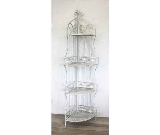Scaffale angolare da parete in ferro battuto bianco con 4 - Mobili in ferro battuto per bagno ...