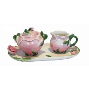 Set ciotola lattiera e zuccheriera in ceramica rosa con scatola e vassoio - lattiera 7x11 cm zuccheriera 11x13 cm