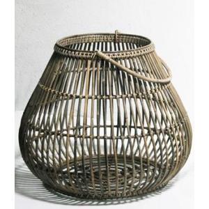 Lanterna portacandela in rattan bamboo intrecciato a mano con manico e votivo in vetro al suo interno ideali sia per interno che per esterno LINEA NATURAL - H70x60 cm