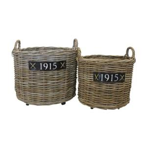 Set due cesti tondi in rattan bamboo intrecciati ideali sia per interno sia per esterno portabiancheria e portavasi linea NATURAL - H48x60 cm