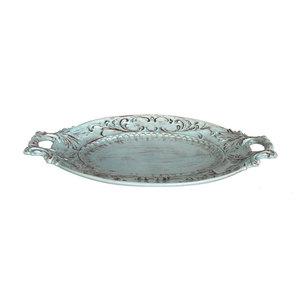 Vassoio ovale in ceramica decorata a mano HOME DECOR -  diametro 54 cm