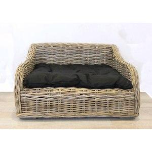Cuccia letto cane e gatto in bamboo con morbido cuscino in cotone nero linea ANIMAL - 75x60x45 cm