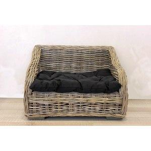 Cuccia letto cane e gatto in bamboo con morbido cuscino in cotone nero linea ANIMAL - 60x45x43 cm