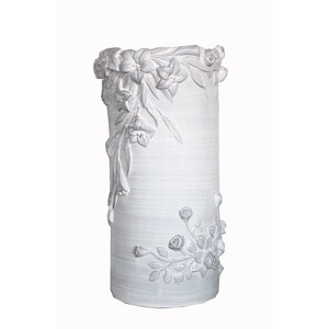 Portaombrelli in ceramica bianca decorata iris -  d30 x h49