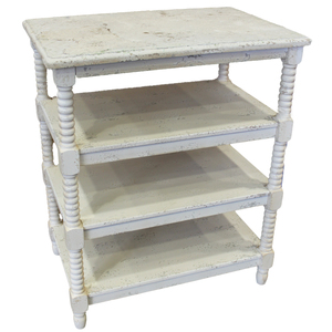 Tavolino quattro ripiani in legno bianco decapato LINEA SHABBY - 60x40x73h cm