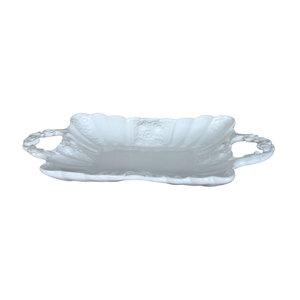 Vassoio a due manici in ceramica decorata a mano margherite HOME DECOR - 42x22 cm