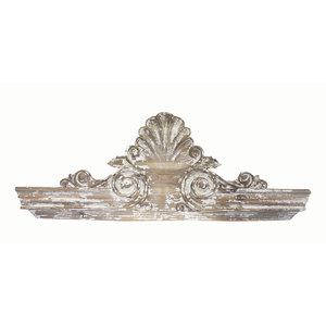 Frontone decorato in legno decapato - h44x120x4 cm